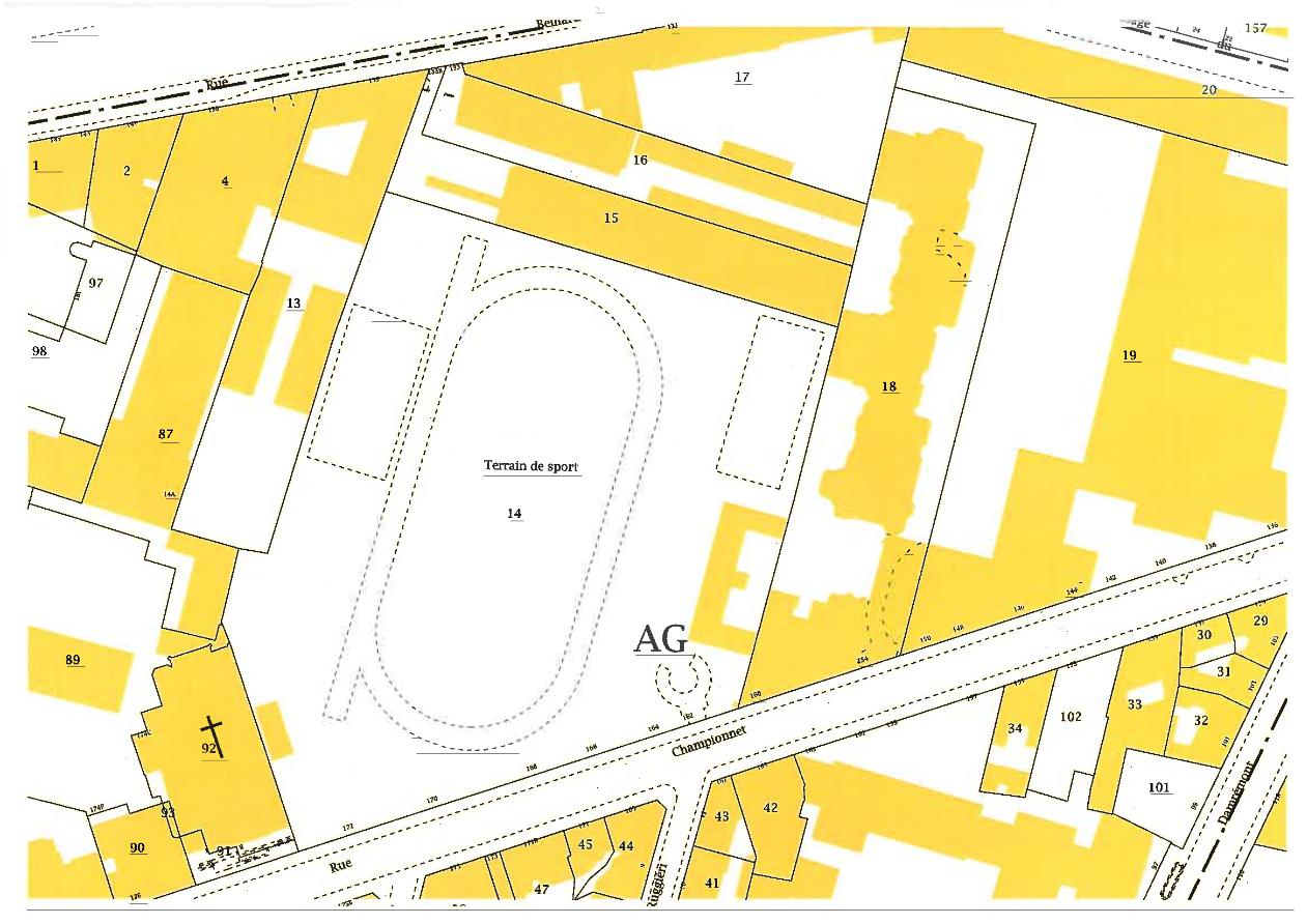 Plan des parcelles concern es 133 et 133bis rue belliard for Bar la piscine paris 18